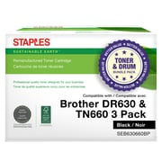 Staples Remanufactured Brother DR630/TN660 Drum/High Yield Toner Cartirdge Bundle Pack