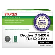 Staples Remanufactured Brother DR420/TN450 Drum/High Yield Toner Cartirdge Bundle Pack, Drum and 2 Toners