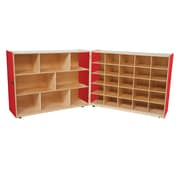 Wood Designs Strawberry Red™ Tray and Shelf Folding Storage with (25) Translucent Trays (23601R)