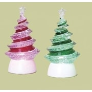 "Roman Set of 2 LED Lighted Color-Changing Swirl Tree Christmas Glitterdomes 8.5"" (28436795)"