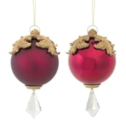 "Melrose Red and Gold Raised Acanthus Leaf with Clear Jewel Dangle Christmas Ornament, 6.5"",  Set of 2 (31465565)"