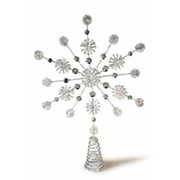 "Melrose 15"" Silver Glittered and Jeweled Snowflake Christmas Tree Topper, Unlit (30882368)"