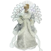 "Northlight 13"" Lighted B/O Fiber Optic Angel in Silver Gray Gown Christmas Tree Topper (32606677)"