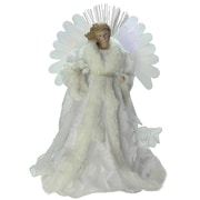 "Northlight 13"" Lighted B/O Fiber Optic Angel with White Gown Christmas Tree Topper (32606676)"