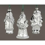 Roman Club Silver Splendor Santa Claus Glass Christmas Ornaments, Pack of 12 (7392041)