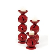 CC Christmas Decor Set of 3 Christmas Traditions Red Jingle Bell Candle Holders (30656645)