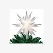 "Keystone 12"" Lighted White Moravian Star Christmas Tree Topper/Decoration, Clear Lights (17029918)"