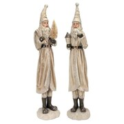 Melrose Set of 2 Beige Old World Shimmering Santa Claus Decorative Christmas Table Top Figurines (31466252)