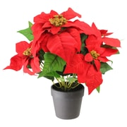 "Northlight 13.5"" Artificial Red and Green Poinsettia Flower Arrangement in Dark Coffee Vase (32618595)"