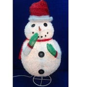 "Sterling 24"" Pre-Lit Outdoor Chenille Snowman Wearing Santa Hat Christmas Yard Art Decoration (31303119)"