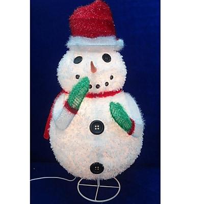 "Sterling 24"" Pre-Lit Outdoor Chenille Snowman Wearing Santa Hat Christmas Yard Art Decoration (31303119)"