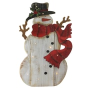 "Northlight 19.5"" Wooden Standing Snowman LED Lighted Christmas Decoration (32618586)"