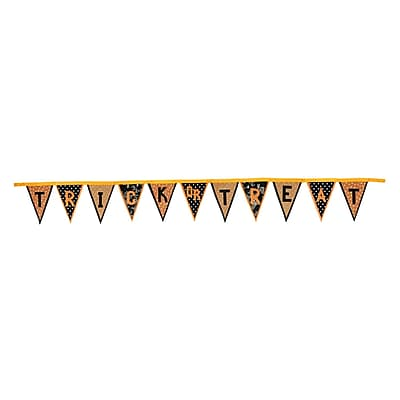 "Gallerie II 11.5' Polka Dot and Floral ""Trick or Treat"" Banner Flag Halloween Garland Decorations (31421429)"