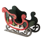"""Northlight 8"""" Wooden Santa Claus and Snowman Decorative Table Top Christmas Sleigh (32614765)"""