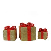Northlight Lighted Sparkling Gold Sisal Gift Boxes Christmas Yard Art Decorations,  Set of 3 (32606322)