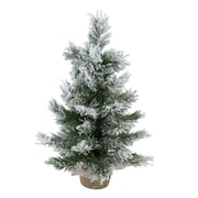 "Northlight 18"" Flocked Pine Artificial Christmas Tree in Burlap Base, Unlit (32615044)"