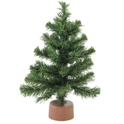 """Northlight 12"""" Mini Canadian Pine Artificial Christmas Tree in Faux Wood Base, Unlit (32614949)"""