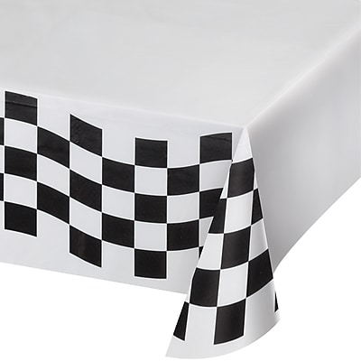Creative Converting Black and White Check Paper Tablecloth