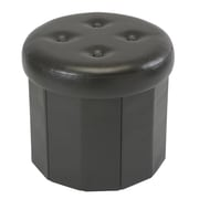 Simplify Collapsible Storage Ottoman, Round Faux Leather, Chocolate, (F-0657-CHOCO)