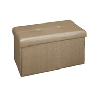Simplify Double Folding Storage Ottoman, Faux Leather, Metallic Brown, (F-0647-MET-BRONZE)