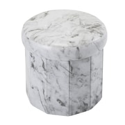 Simplify Collapsible Storage Ottoman, Round Marble Print, (F-0658-MARBLE)