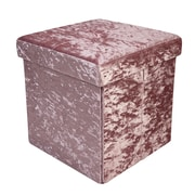 Simplify Folding Storage Ottoman Cube, Velvet, Rose, (F-0649-ROSE)