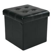 Simplify Collapsible Storage Ottoman, Accented Stitch Design, (F-0663-BLACK)