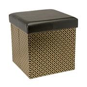 Simplify Collapsible Storage Ottoman, Metallic, Black, (F-0667-BLACK)