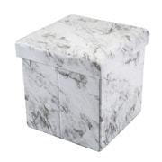 Simplify Collapsible Storage Ottoman, Marble Print, (F-0660-MARBLE)