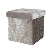 Simplify Folding Storage Ottoman Cube, Velvet, Silver, (F-0649-SILVER)