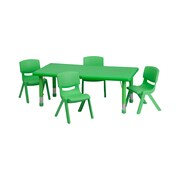 Offex 24''W x 48''L Rectangular Green Plastic Height Adjustable Activity Table Set with 4 Chairs (OF-Q-W-1-2T-W-R)