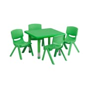 Offex 24'' Square Green Plastic Height Adjustable Activity Table Set with 4 Chairs (OF-W-23-2-SQ-Q)