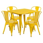 Offex 31.5'' Square Yellow Metal Indoor-Outdoor Table Set with 4 Stack Chairs (OF-CT-4-30-YL-G)