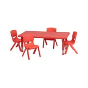 Offex 24''W x 48''L Rectangular Red Plastic Height Adjustable Activity Table Set with 4 Chairs (OF-YU-1-2-L-S-R)