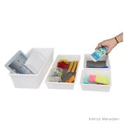 Mind Reader 4 Piece Large Rectangle Storage Compartment Organizer Set, Gray (4FAT-GRY)
