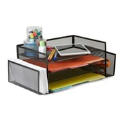 Mind Reader 4TSIDE2-BLK Desk Organizer with 2 Side Storage Compartments, Black