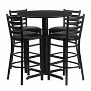Offex 30'' Round Black Laminate X-Base  Table Set with 4 Ladder Back Metal Barstools, Black Vinyl Seat (OF-HDBF1021-GG)
