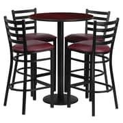 Offex 30'' Round Mahogany Laminate Table Set with 4 Ladder Back Metal Barstools, Burgundy Vinyl Seat (OF-RSRB1026-GG)