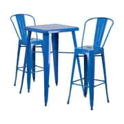 Offex 23.75'' Square Blue Metal Indoor-Outdoor Bar Table Set with 2 Stools with Backs (OF-311B-2-31-BL)