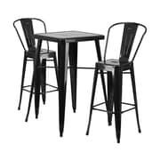 Offex 23.75'' Square Black Metal Indoor-Outdoor Bar Table Set with 2 Stools with Backs (OF-311B-2-31-BK)