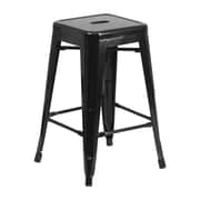 Offex 24'' High Backless Black Metal Indoor-Outdoor Counter Height Stool with Square Seat (OF-31320-24-BK)