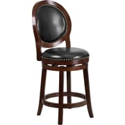 Offex 26'' High Cappuccino Counter Height Wood Stool with Black Leather Swivel Seat (OF-R-556-CA-G)