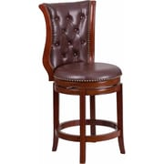 Offex 26'' High Dark Chestnut Wood Counter Height Stool with Hepatic Leather Swivel Seat (OF-R-23-DC-R-G)