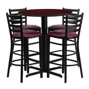 Offex 30'' Round Mahogany Laminate X-Base Table Set with 4 Ladder Back Metal Barstools, Burgundy Vinyl Seat (OF-HDBF1026-GG)