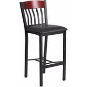 Offex Eclipse Series Vertical Back Black Metal and Mahogany Wood Restaurant Barstool with Black Vinyl Seat (OF-S-E-JB-H-V)
