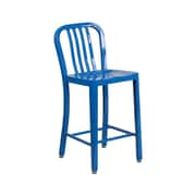 Offex 24'' High Blue Metal Indoor-Outdoor Counter Height Stool with Vertical Slat Back (OF-61200-24-BL)