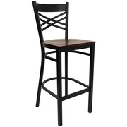 Offex Black ''X'' Back Metal Restaurant Barstool, Mahogany Wood Seat (OF-XU-X-BAR-M-G)