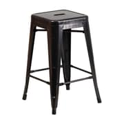 Offex 24'' High Backless Black-Antique Gold Metal Indoor-Outdoor Counter Height Stool with Square Seat (OF-31320-24-BQ)