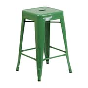 Offex 24'' High Backless Green Metal Indoor-Outdoor Counter Height Stool with Square Seat (OF-31320-24N)