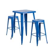 Offex 23.75'' Square Blue Metal Indoor-Outdoor Bar Table Set with 2 Square Seat Backless Stools (OF-311B-2-SQ-BL)